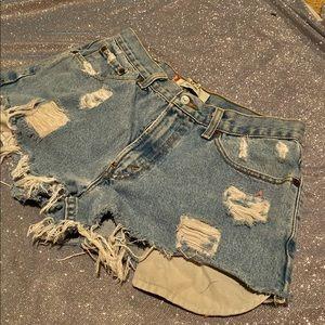 Vintag Levis Denim High Waisted Shorts Jeans